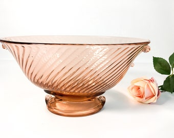 Vintage Pink Swirl Art Glass Bowl - Art Deco Style Short Pedestal Kitchen Home Decor Serving