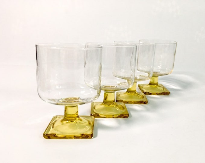 Vintage Federal Glass Nordic Topaz Wine Glasses - Set 4 Square Yellow Base Stem Wine - Retro Mid Century Glassware / Stemware / Barware