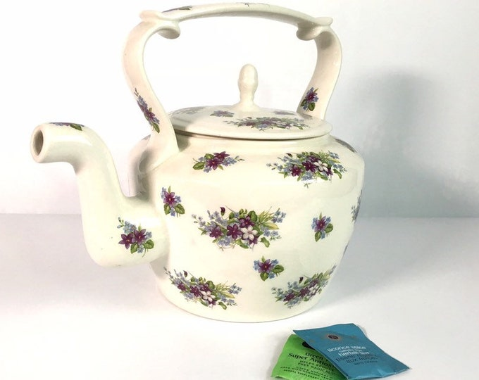 Arthur Wood Teapot Ivory Purple Blue Florals - LARGE 22 Cup Vintage Tea pot Violets Forget-me-not on Ivory - Serving Kitchen / Home Decor