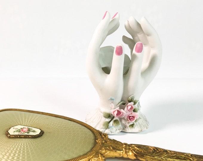 Lefton Lady's Hands Trinket Ceramic / China Mid Century Retro Painted w/ Pink Roses - Kitsch Bedroom Bathroom Decor