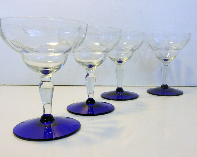 Champagne Glasses 4 Weston Etched Clear Bowl & Stem w/ Wide Cobalt Blue Base Vintage Glasses - Retro Barware Depression Glass