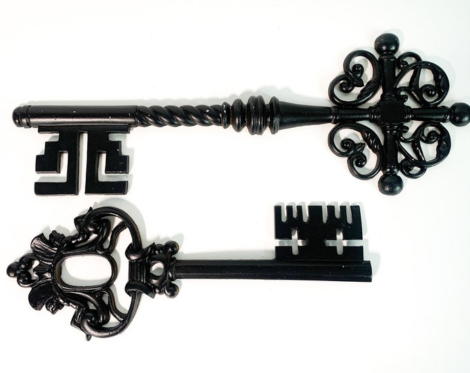 Vintage LARGE Pair Metal Skeleton Key Wall Hangings - 2 Black Wall Art Retro Mid century Mid Home Decor Wall Art by Sexton