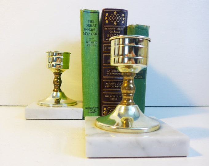 2 Vintage Brass Candlesticks Italian Marble Base - Mid century Clean Mod Design - 2 Brass Candle Holders Square Marble Base Stickers Intact
