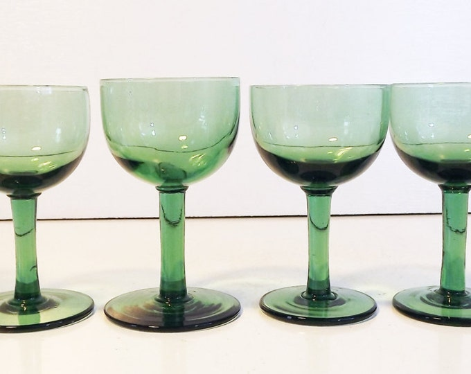 Green Cordial or Wine Glasses - Vintage Set of 6 Green Handblown Glass - Emerald Green Glasses - Hand blown Wine Goblets