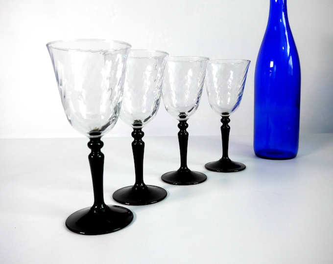 Vintage Set of 4 Luminarc D'Arques Optic Swirl Wine Glasses - Made in France - Clear Swirl Bowls with Black Stem - Set of Four