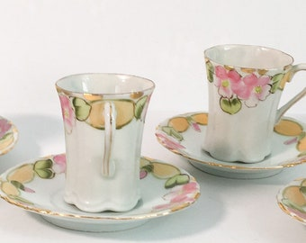 Pair Vintage Demitasse Cups & Saucers Fine Porcelain - Two White Gold Pink Yellow Gold Floral Flowers - 2 Retro Espresso Coffee Serving
