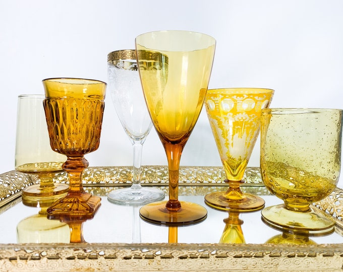 2nd Time Around Vintage Set 6 Amber & Gold Wine Glasses - Unique Retro Collection /  Combination Barware Stemware - Shades of Amber