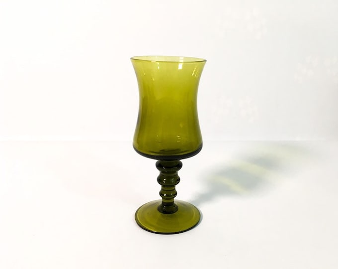 Single Green Vintage Richmond by  Colony Wine Glass- Retro Serving Barware / Glassware - 3 Wafers on Stem, Hand Blown Italian - Kitchen