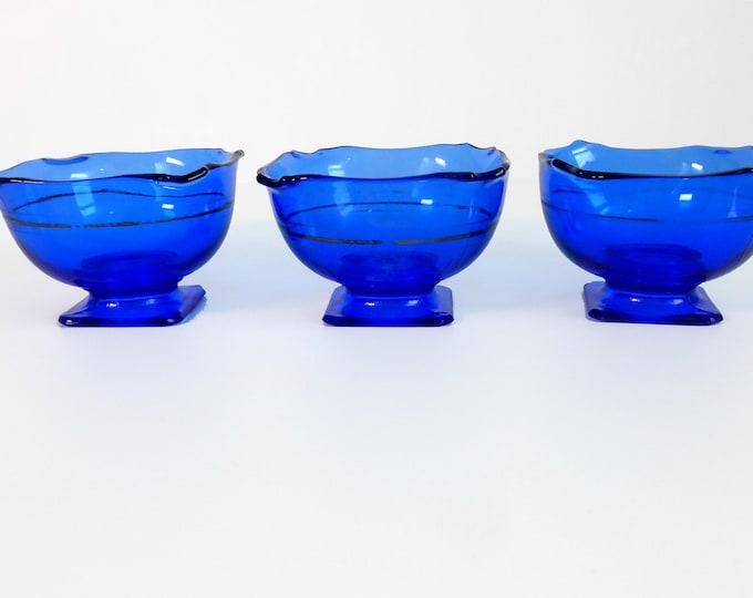 3 Mt Pleasant Cobalt Blue L E Smith Depression Glass Square Pedestal Fruit Bowls - Pressed Glass Smith w/ Crimped Silver Stripes Ca 1920s