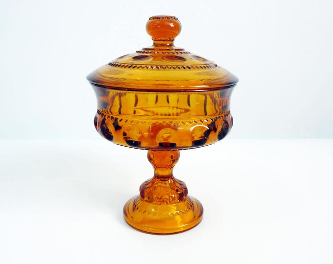 Amber Glass Kings Crown Compote / Covered Jar w/ Lid - Brown Glass Pedestal Candy Jar w/ Lid - Mid century Art Glass Home Decor