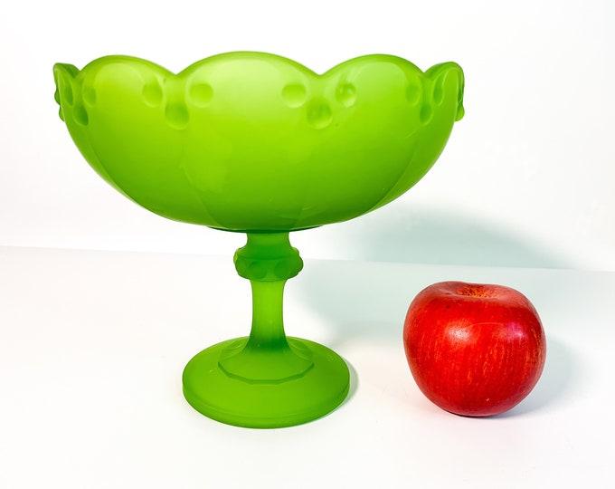 Vintage Indiana Glass Garland Green Frosted Pedestal Bowl - Retro Home Decor Comport Satin Fruit Nut Comport Centerpiece