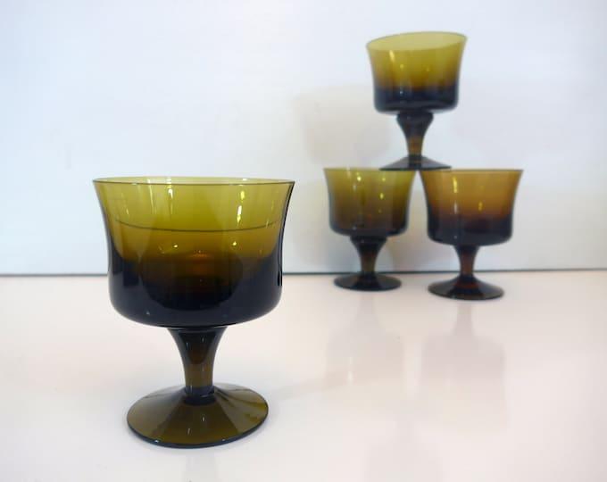 4 Vintage Hand Blown Sherbet Dessert Champagne Glasses by Denby - Four Olive Green / Amber Ca 1970s Glasses Mid Century Modern / Mod Design