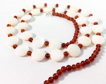 "Art Deco Mother of Pearl & Carnelian Bead Necklace - 24"" Long Vintage Round MOP Discs and Round Red Stone Bead Jewelry"