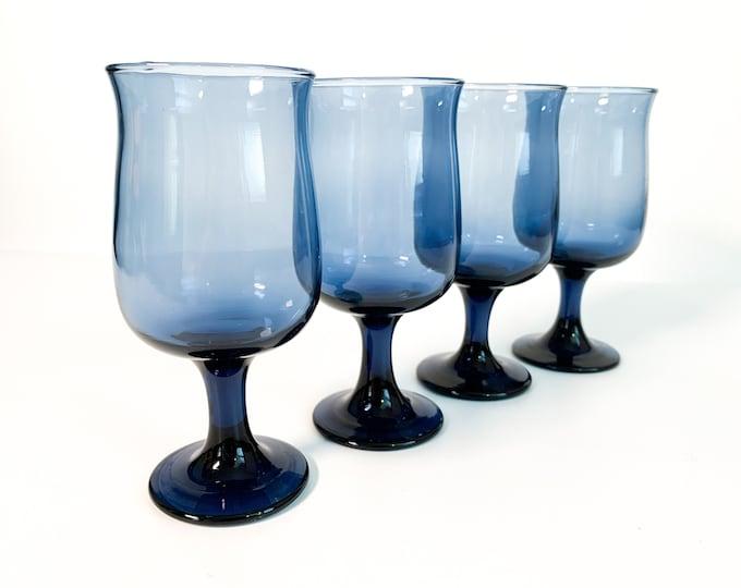 Vintage Set of 4 Dusky Blue by Libbey Water Glasses - Stemware - 4 Vintage Blue Goblets Tulip Shaped