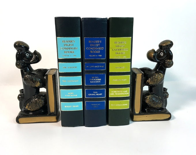 Vintage Poodle Dog Bookends - Pair Black w/ Gold Trim Ceramic 2 Dogs w/ Books & Pencil Holders - Mid Century Home and Library Decor Retro