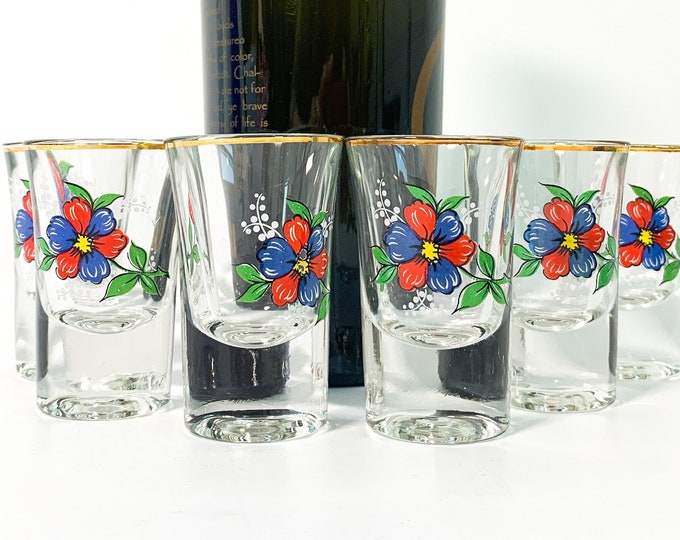 Vintage Set of 6 Gold Rim Flower Design Shot Glasses - Six Clear Glass Mid Century Original Box - 2 Sets Available Red Blue Green White