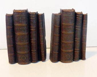 2 Vintage Syroco Bookends - Pair Shabby Chic Stack of Books Bookends - Retro Cottage Chic Syroco Wood - Library / Home Decor