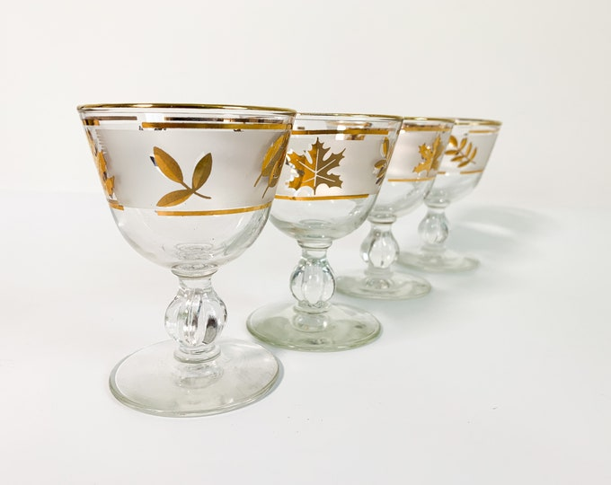 4 Vintage Libbey Golden Foliage Cocktail Glasses - Retro Four Mad Men Era Mid Century Barware