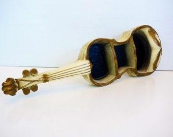 LARGE Vintage Violin Shelf Wall Home Decor - Gold Ivory & Black Shelf - Mid Century Shabby Chic Music Kitsch Wall Hanging