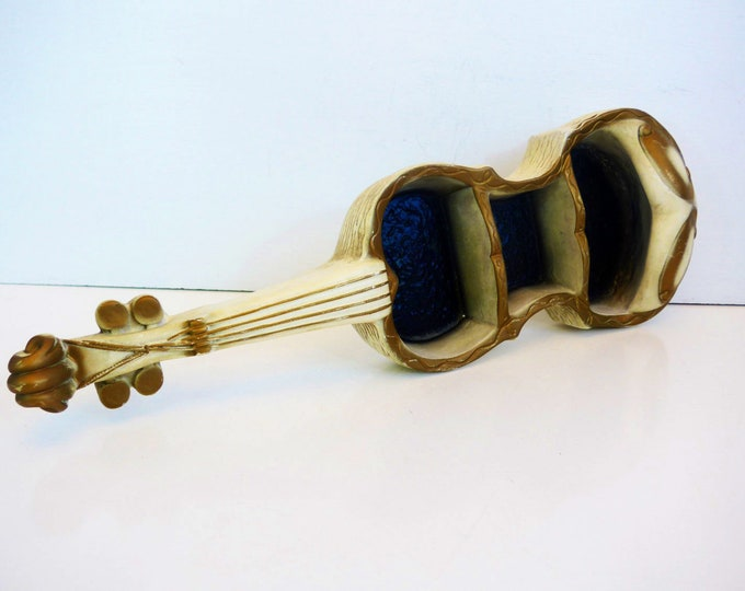 LARGE Vintage Violin Shelf Wall Home Decor - Gold Ivory & Black Shelf - Mid Century Shabby Chic Music Kitsch Wall Hanging