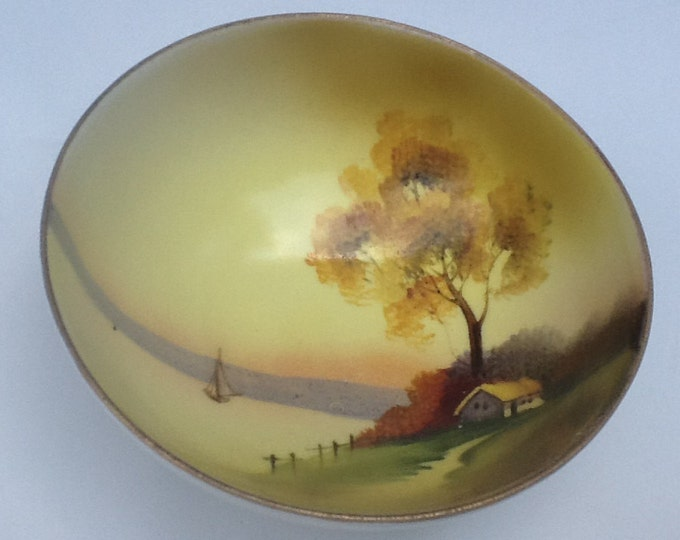 VINTAGE Nippon Button Footed Bowl  - Boat Lake Scene  - Small Round Yellow Green Peach NIPPON