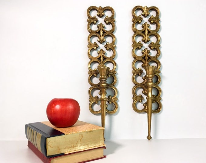 2 Vintage TALL Gold Ornate Syroco Wall Sconces - Pair French Provincial Candle Holders - Shabby Chic Mid Century HOMCO dated 19