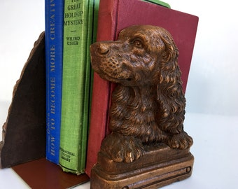 2 Vintage Syroco Dog Motif Bookends - Pair of Vintage Bookend Cocker Spaniel Brown Bookends - Two Mid century Syroco Wood-look Set Bookends