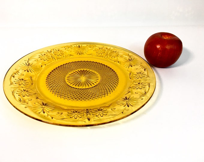 Vintage Amber Pressed Glass Cake Plate / Large Cake plate Cupcake Plate Antique Pressed Glass