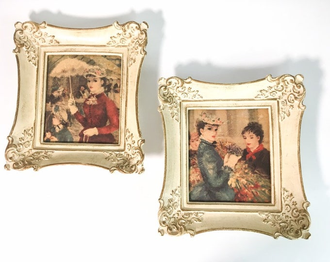 Pair of Vintage Framed Print of Two Victorian Women Wall Decor - Retro Ladies Ivory Frame With Gold Trim
