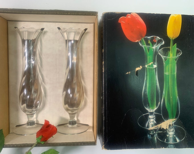 Pair Vintage Riekes Crisa Bud Vases - Two Clear Glass Optic Vases Retro Home Decor