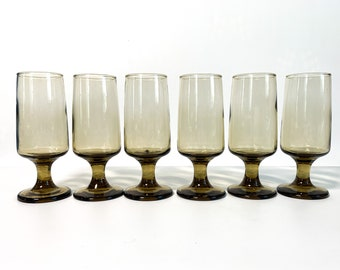 6 Vintage Libbey Tawny Accent Smoky Brown Wine Glasses  - Set of Six Cordials by Libbey in Tawny Brown