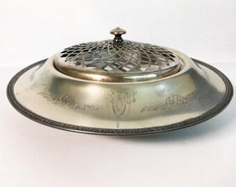 LARGE Antique Sheffield Silver Plate Etched Serving Bowl Tray w/ Lid - EPNS Round Openwork - Hallmarked Retro Vintage Kitchen Entertaining