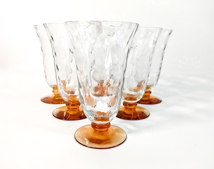 6 Vintage Tall Glasses / Goblets with Amber Base and Clear Optic Bowl - Set of Six Unique Hand blown Water Glasses
