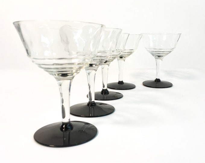 6 Vintage Clear Stem Black Base Champagne, Cocktail or Wine Glasses - Diamond Panels & Ribbed Bowls - Set of Six Mid century Retro Glasses