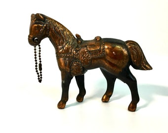 Retro Toy HORSE  Early  Mid century Vintage Carnival Prize HORSE Cast Metal w/ Copper Finish Western Horse w/ Original Reins / Key Chain