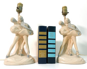 Vintage Pair Chalkware Ballerina Lamps - Kitsch Mid century Lighting - Male & Female Dancers - Retro Home Decor