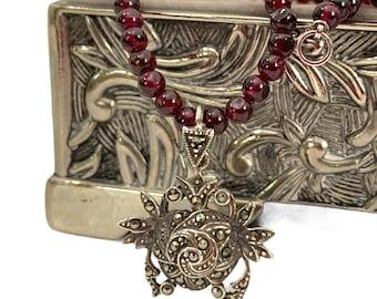 Vintage / Antique Garnet Sterling Silver & Marcasite Necklace - Retro Bead Choker w/ Pendant