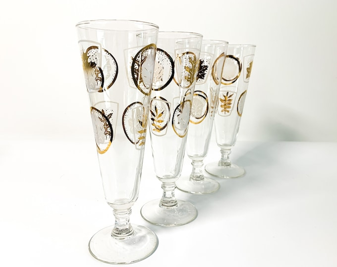 Vintage Set 4 Pilsner Glasses - Gold & White Leaves on Clear Glass Libbey Large Tall Mid Century Barware