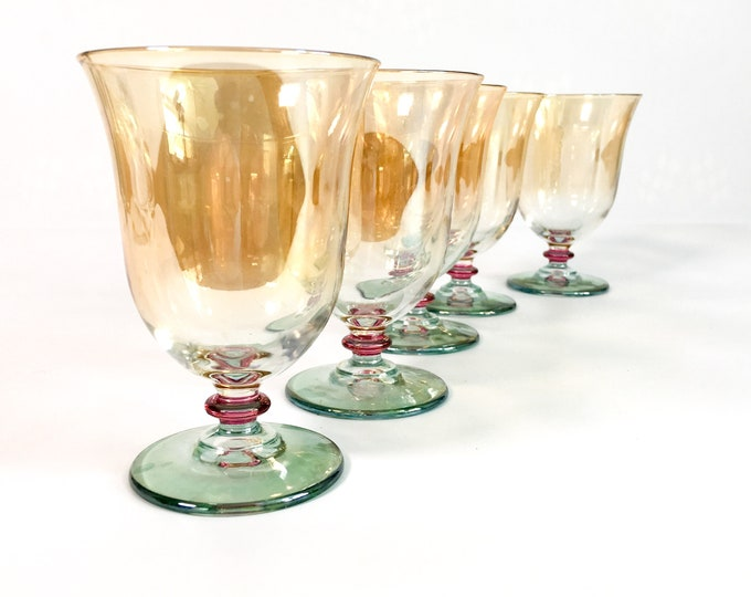 5 Vintage Wine Glasses w/ Peach Iridescent Bowl Green Base & Red Wafer - Set of Five Colorful Unique Retro Barware Cocktail Glasses