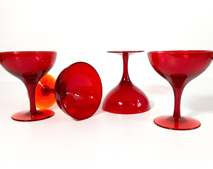 4 Vintage Amberina Champagne Glasses - Red w/ Orange Bases Retro Coupe Cocktail Stemware Wedding Toast
