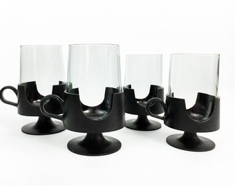 Vintage Set of 4 Corning Snap Glass Cups - Black Plastic Stemless Hot Cold Mug - Glas-Snap by Corning Mod Glasses  Tumblers - Modern 2 sizes