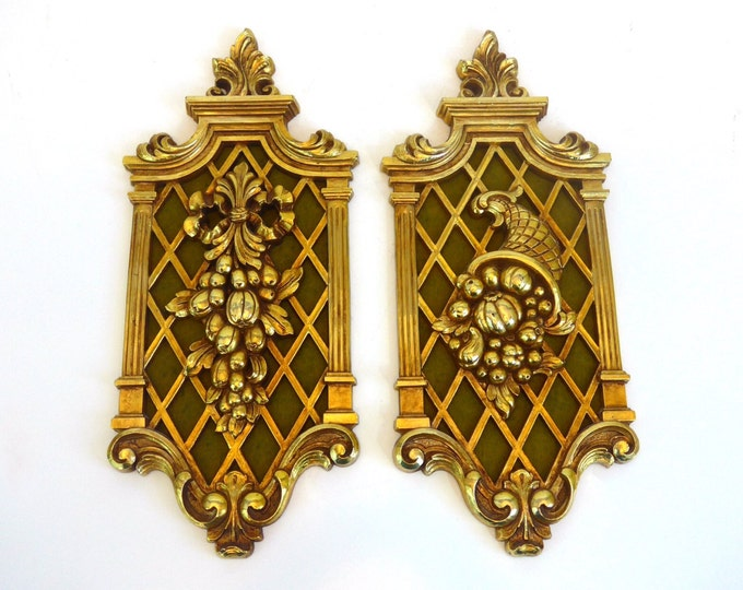 Pair Vintage Gold Ornate Wall Hangings - Mid Century Wall Decor - Cornucopia and Fruit Hollywood Regency Wall Decor - Mid Century Home Decor