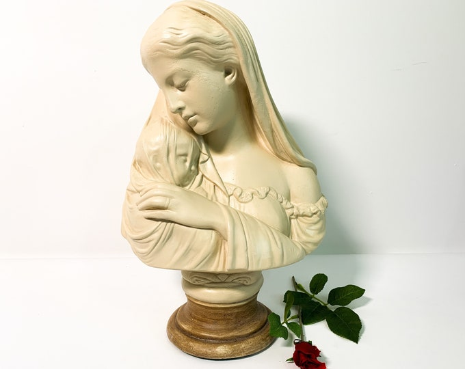 """Large Marwal Bust Mary w/ Infant Jesus - Vintage Chalkware Ivory Blessed Mother 15"""" Tall - Vintage Signed R Monti Statue - Tan Light Brown"""