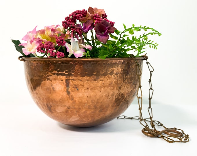 Vintage Hanging Copper Bowl - Hammered Planter Copper 3 Chain Retro Rustic Home Kitchen Decor