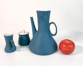 Vintage Ceramic Italian Coffee Pot w/ Sugar & Creamer - Blue Mid Century Mod Arturo Vallenti FUNKY 3 pc Coffee Service