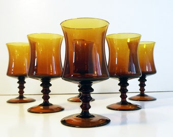 4 Small Amber Richmond Coffee by Colony Wine Glasses - Set of 4 Vintage Italian Glassware Wafer Beaded Stem, Hand Blown