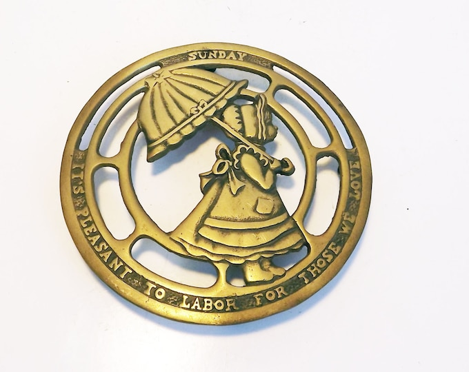 Sunday It's pleasant to labor for those we love - Girl with Umbrella Vintage Brass Trivet - Round Trivet Made in Korea Kitchen Decor Brass