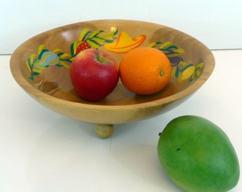 Vintage Handpainted Wood Fruit Bowl White Studios - Round Colorful Wood Fruit Dish w/ Short Legs - Farm House Cottage Chic Rustic Home Decor