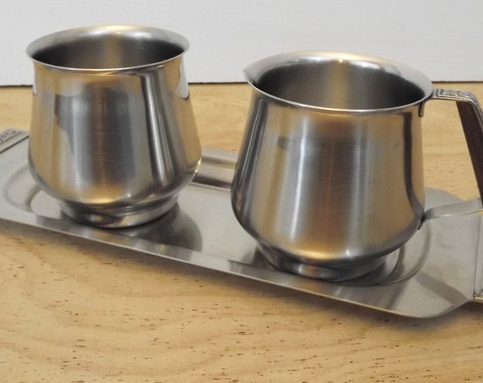 Vintage International Decorator Stainless Coffee / Tea Set - Handled Tray, Cream and Sugar - Mid Century Modern Home Decor - Stainless Steel