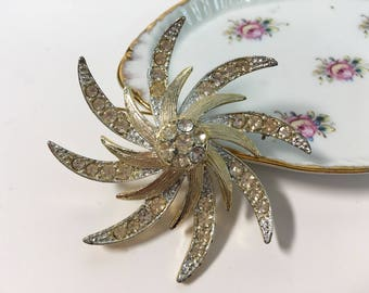 Vintage Sarah Coventry Rhinestone Brooch - Star Sun Swirl Floral Design - Large Layered Retro Gold tone Pin w/ Clear Rhinestones